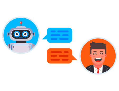 chat bot automatically answers the client question. flat character vector illustration Ilustrace