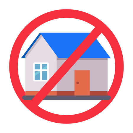 crossed out house sign. ban on housing. flat vector illustration.