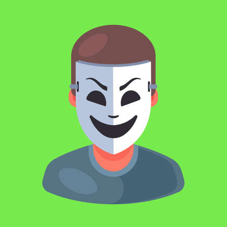 masked man icon. rip off a person. Flat character vector illustration. Çizim