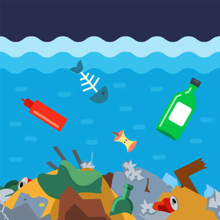 throw garbage to the bottom of the ocean. ecological disaster in the water. flat vector illustration.