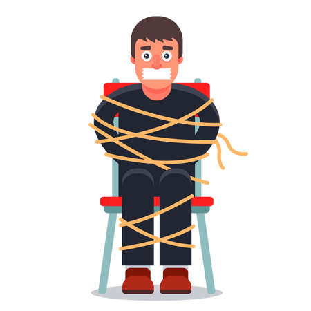 the man was kidnapped and tied up in a chair. ransom demand. Flat character vector illustration. ベクターイラストレーション