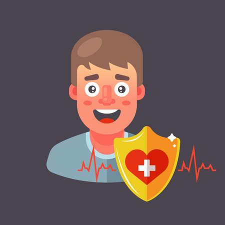 insure human health. heart protection. Flat character vector illustration. 向量圖像