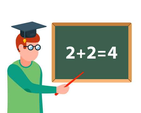 math teacher explains the task on the blackboard. Flat character vector illustration. Ilustração