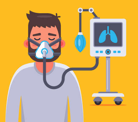 ventilation of the lungs with a sick coronavirus. Flat character vector illustration.