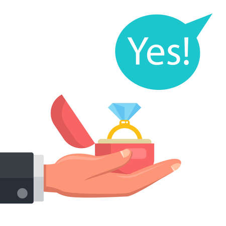 proposal to get married. the girl answered yes. flat vector illustration.