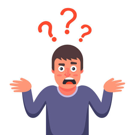 the man is surprised and does not know the answer to the question. Flat character vector illustration.