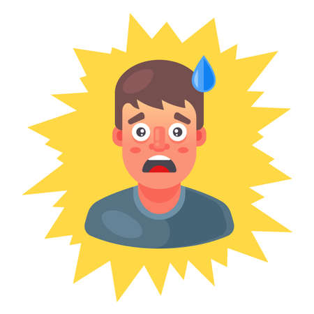 the man got scared and sweat runs down his forehead. emotion of surprise. flat vector illustration.
