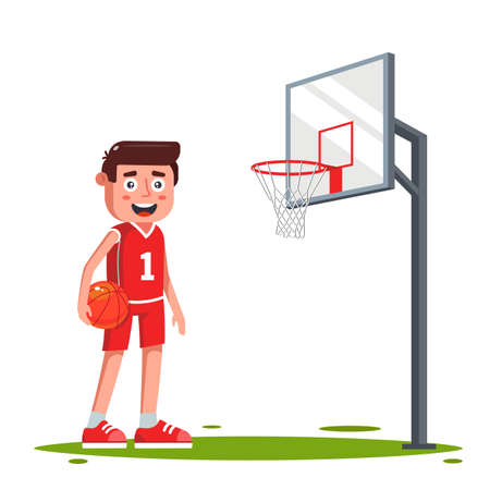 character a basketball player on the field with a basketball hoop. score a goal. flat vector illustration.