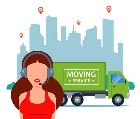 The manager accepts applications for delivery in the city. Logistics of truck movement. flat vector illustration. Vecteurs