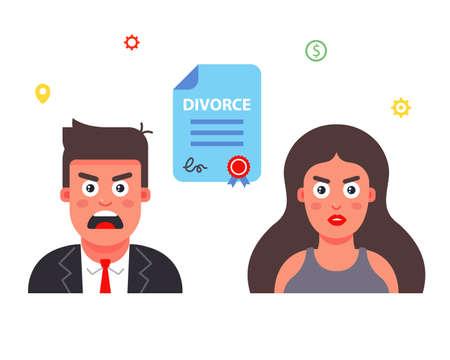 family destruction. sign a divorce document. Flat character vector illustration.