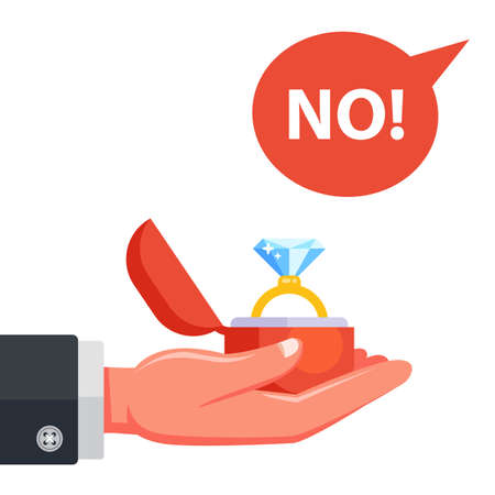 man proposes to get married. girl refuse to marry. flat vector illustration