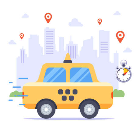 taxi rides to order against the backdrop of the city. many customer order tags. flat vector illustration.