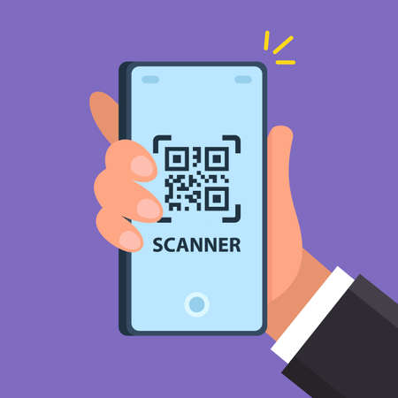 the scanner on the phone scans the square. flat vector illustration