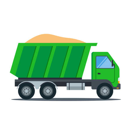 green truck with sand. construction transport. flat vector illustration.