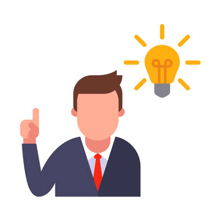 The manager came up with a brilliant idea in the form of a glowing light bulb. icon on a white background. flat vector illustration. Ilustração