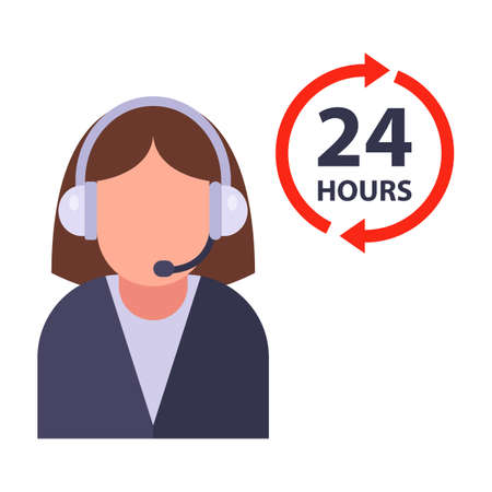 call center 24 hours. receive a call around the clock. work with clients by phone. Flat character vector illustration.