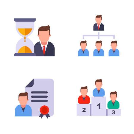 set office. hourglass. customer base. important document. sports pedestal. flat vector illustration. Illustration