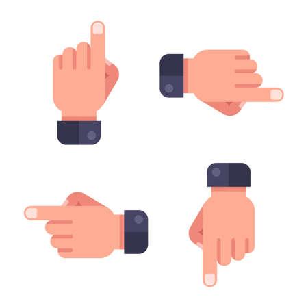 set pointer. hand shows direction. flat vector illustration.