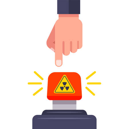 press the red nuclear button. declaration of war. flat vector illustration.