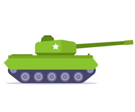 green battle tank on a white background. flat vector illustration. Фото со стока