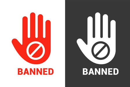 the hand stops and does not allow. ban symbol on a white background. flat vector illustration.
