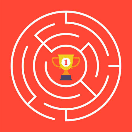 Round maze with a cup in the center. flat vector illustration