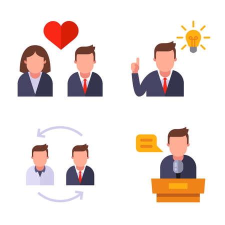 office icons set. romantic relationship. great idea. performance from the rostrum. employee replacement. flat vector illustration.