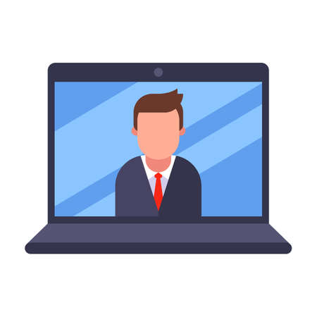 online business meeting. quarantined home office. Flat character vector illustration.