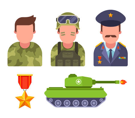 Set soldiers in camouflage. army General. military equipment. flat vector illustration.