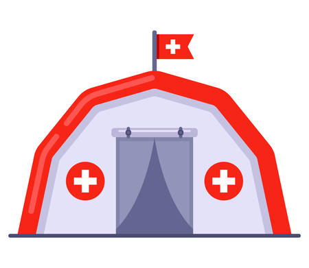 medical tent free aid to people. flat vector illustration.