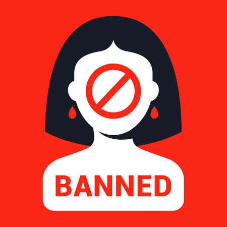 ban picture for women. gender discrimination. flat vector illustration
