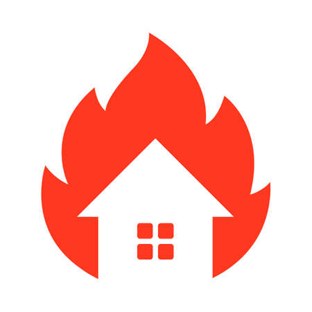 fire icon of an old house. flat vector illustration.