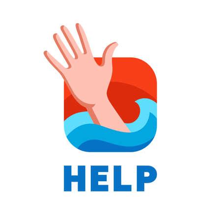 a drowning man asks for help. flat vector illustration. Illustration