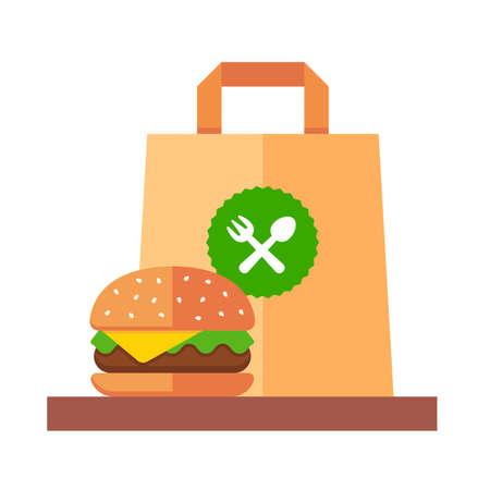 Takeaway hamburger in a paper bag. flat vector illustration Ilustracja