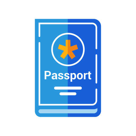blue passport of a citizen of the country. flat vector illustration.