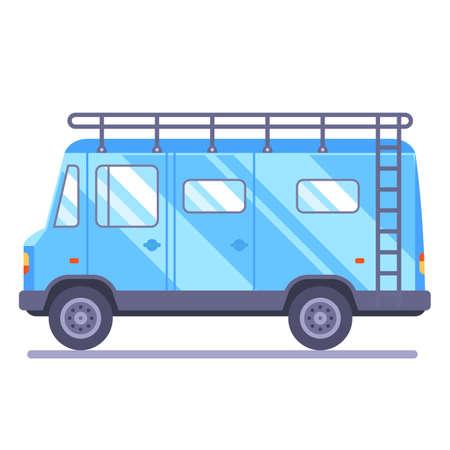 family travel van. transport goes on vacation. Flat car vector illustration.