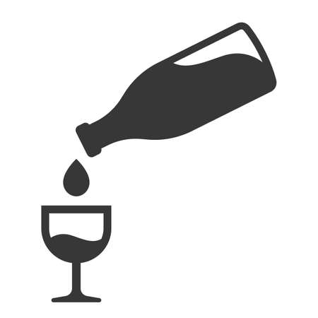 icon pouring wine into a glass. a bottle of alcohol. flat vector illustration.