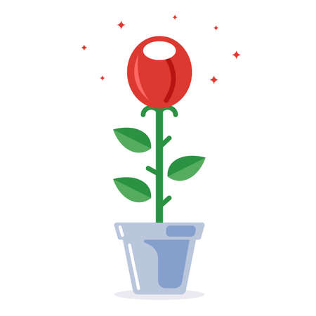 red rose in a pot. plant flowers in the ground. flat vector illustration.