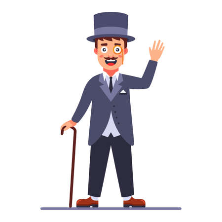 lord in the cylinder and a cane in his hand. 19th century English dandy. Flat character vector illustration. Illusztráció