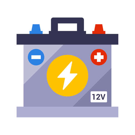 car battery on a white background. flat vector illustration. Çizim