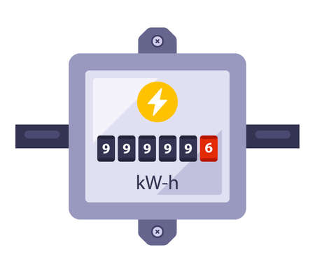 electricity meter to record energy consumption. flat vector illustration  イラスト・ベクター素材