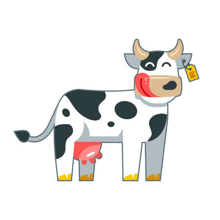 contented cow on a white background. Flat character vector illustration. 일러스트