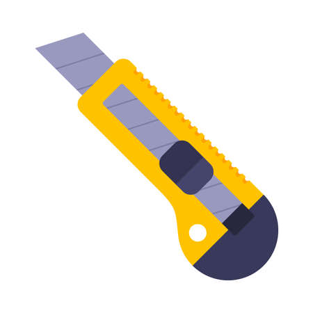 yellow clerical cutter on a white background. flat vector illustration.