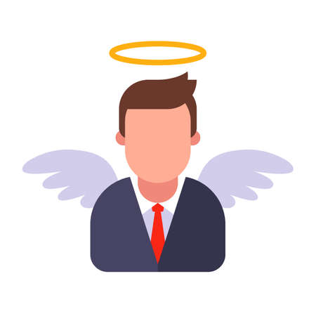 male angel in a business suit. flat vector illustration.