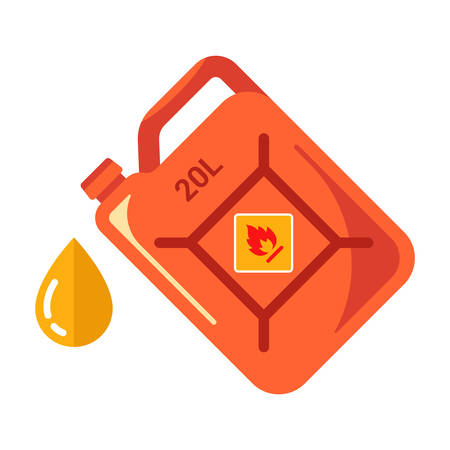 red iron canister with yellow gasoline. flat vector illustration.