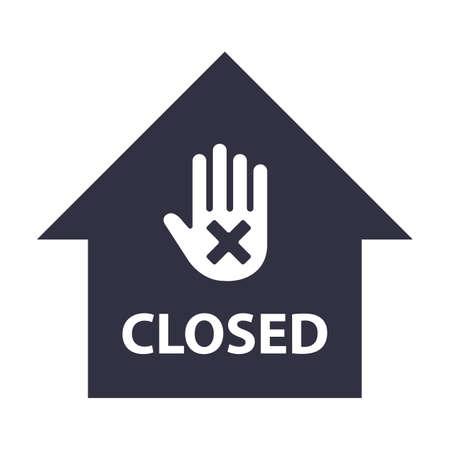 building closed icon. stop hand gesture. flat vector illustration. Ilustração