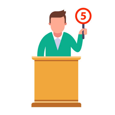 The jury member gives a rating of five. flat character vector illustration