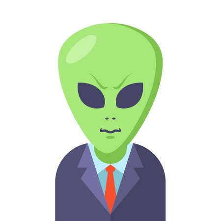 alien in a business suit on a white background. Flat character vector illustration.