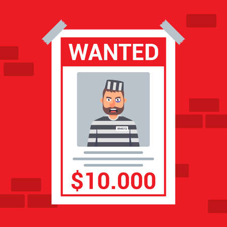 A wanted criminal is wanted. reward for the capture of a bandit. flat vector illustration.