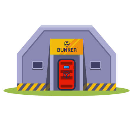 concrete bomb shelter on a white background. hide from nuclear weapons. flat vector illustration.